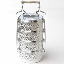 Aluminum 4 Tier Tiffin Food Carrier Thai Monk Lunch Box vintage style Free Ship
