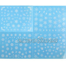 11pcs Nail Art Water Decals Transfer Stickers White Star Snowflake Design
