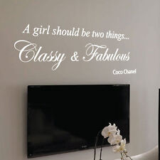 Coco Chanel Classy and Fabulous Fashion Art Wall Stickers Quote Wall Decals 12