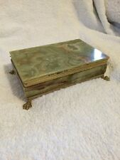 Stunning Vintage Retro Natural Stone Green Onyx Footed Cigarette Box
