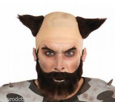 DEMON BALD HEADPIECE WIG & BLACK BEARD SET Devil Horn Rubber Punk Clown Warrior