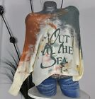 "NEU ITALY LEGER PULLI FLEDERMAUS OVERSIZED ""OUT THE SEA"" PRINT CREME*ORANGE UNI"