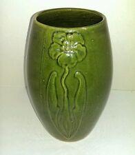 Zanesville Pottery Vintage Arts and Crafts Stylized Green Ovoid Vase