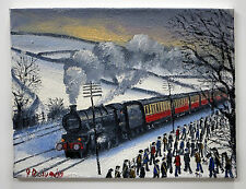 NORTHERN ART JAMES DOWNIE ORIGINAL OIL PAINTING 'COMMUTERS OF STEAM' TRAINS
