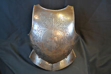 ANTIQUE MEDIEVAL ARMOR STEEL BREASTPLATE CUIRASS ENGRAVED DECORATED NO SWORD