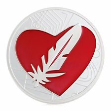 Silver Plated Like Bitcoin Heart Love Feathercoin Souvenir Token Feather Coin