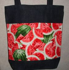 NEW Handmade Large Watermelon Summer Fruit Shopping Denim Tote Bag