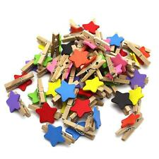 Wholesale Wooden Star Shaped Message Photo Tips Picture Paper Clip Holder Clamp