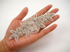 Stunning Wedding Applique Rhinestone Bridal Applique Diamante Trim Beaded Motif
