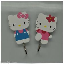 Set of 2 Hello Kitty Adhesive Wooden Wall Hook - Standing Kitty