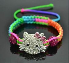 New Hot Crystal Lovely Cat Girl Childen kids Shamballa Bracelet Jewellery GIFT L
