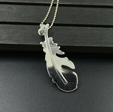 Fashion Feather Womens Men's Silver Stainless Steel Titanium Pendant Necklace B2