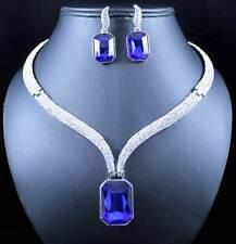 CHIC AUSTRIAN RHINESTONE CRYSTAL BIB NECKLACE EARRINGS SET PROM N1789B BLUE