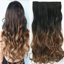 1Pcs Clip in Ombre Colored Wavy Thick Hair Extensions Natural Black & Dark Brown