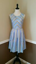 $114 Modcloth Radiant Ribbons Dress M Bea & Dot Pleated Pastel Striped Retro