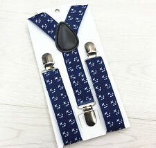 Boys Girls Kid Child Children Y-Back Braces Clips Elastic Suspenders Blue Anchor