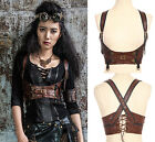 RQ-BL Kunst-Leder Harness Korsage Steampunk Top Belt Golden Corset Gothic SP085