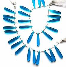 """Neon Apatite Gem Color Hydro Quartz Smooth 7x35MM Drop Shape Briolette Beads 7"""""""