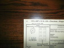 1976 JEEP EIGHT Series J-10 J-20 Cherokee Wagoneer 360 CI V8 4BBL Tune Up Chart
