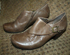 YUU Brown Leather Buckle Ankle Boots Shoes 7.5M Tammy