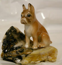 French Bull Dog Statue Frenchie Figurine Rock Gift Ceramic Canine Collectable