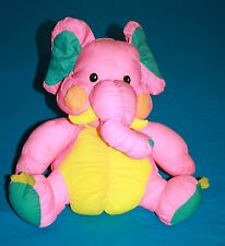 "Dan Dee Pink Yellow Blue Parachute Nylon Plush ELEPHANT 10"" Stuffed Soft Toy MTY"