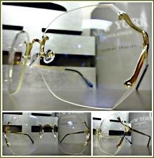 OVERSIZED VINTAGE RETRO Style Clear Lens EYE GLASSES Large Rimless Gold Frame