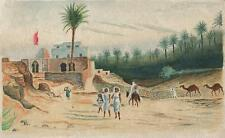 NORTH AFRICA VILLAGE Antique Watercolour Painting c1930 CAMELS