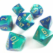 Chessex Dice Poly - Gemini Blue Teal w/ Gold - Set of 7 - 26459 - Free Bag! DnD