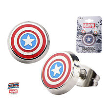 OFFICIAL MARVEL COMICS CAPTAIN AMERICA SHIELD SYMBOL GREY STUD EARRINGS (NEW)