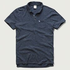 Mens A&F Striped Polo XL Muscle Fit Navy Blue Abercrombie & Fitch