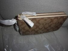 NWT Coach F54057 PVC Double Zip Wallet In Signature Khaki Platinum NWT