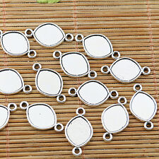 30pcs Tibetan silver plated oval cab setting connectors EF1656