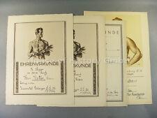 53509, Konvolut von vier Sport Ehrenurkunden, 1923, 1930, 1931, Erlangen