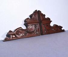 *Pair of Large French Antique Solid Highly Carved Walnut Wood Brackets
