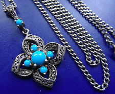 vintage 925 STERLING SILVER marcasite turquoise flower pendant necklace -C580