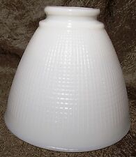 "White Opal Milk Glass 6"" Floor Table Oil Lamp IES Reflector Waffle Shade Globe"