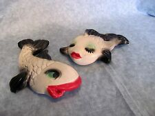 2 VINTAGE CHALK WARE FISH WALL PLAQUES MR. AND MRS.