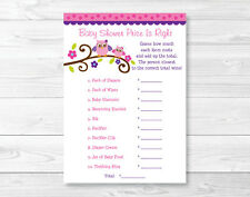 """Pink & Purple Owl Printable Baby Shower """"Price is Right!"""" Game Cards"""