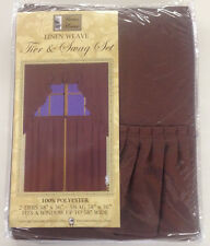 SOLID COLOR LINEN WEAVE 36 INCH LONG TIER CURTAIN AND SWAG SET CURTAINS