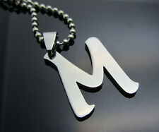 Woman's Men's Silver 316L Stainless Steel Pendant Necklace 26 LETTERS Pick