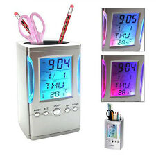 LED 7 Color Backlight Pen Holder Digital Calendar Temperature Time Alarm Clock