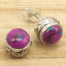 Silver Plated HANDMADE Jewelry, Natural PURPLE COPPER TURQUOISE Stud Earrings