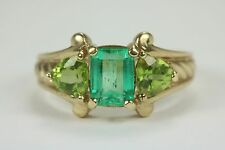 1.50tcw Vintage Colombian Emerald & Peridot Three Stone Ring 10k