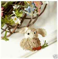 Natural Bunny Rabbit with Carrot Ornament for Easter Tree! Grass, Jute, & Sisal!