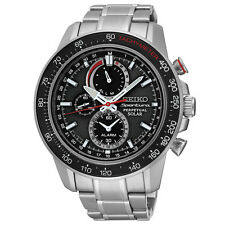 New Seiko SSC357 Solar Sportura Black Dial Chrono Stainless Steel Men's Watch
