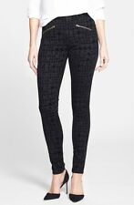 NWT Not Your Daughter's Jeans NYDJ Ami Super Skinny Black Flocked Houndstooth 4