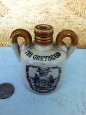 "Miniature Stoneware Whiskey Jug ""The Greybeard"" 2 Handles Stenciled"
