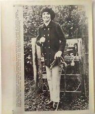 Jacqueline Kennedy Onassis goes horseback riding in England 1968 wirephoto