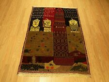 3x5 Handmade Pictorial Vegetable Dye Wool Afghan Baluchi Rug Excellent Condition